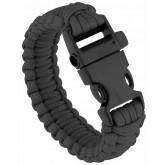 Bracelet paracord et sifflet de survie noir