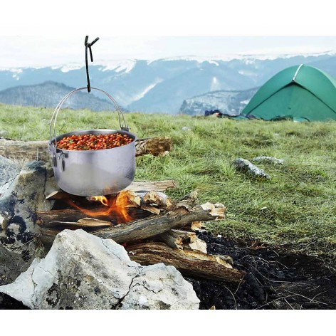 Tribal Pot marmite de bivouac 10 L sur le feu