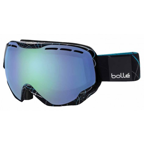 Masque de ski Emperor OTG Shiny Black & Blue Loops