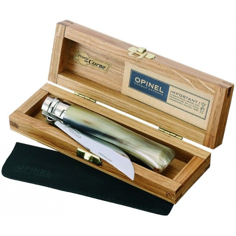 Couteau OPINEL n°8 lame poli glace, manche corne blonde et coffret chêne